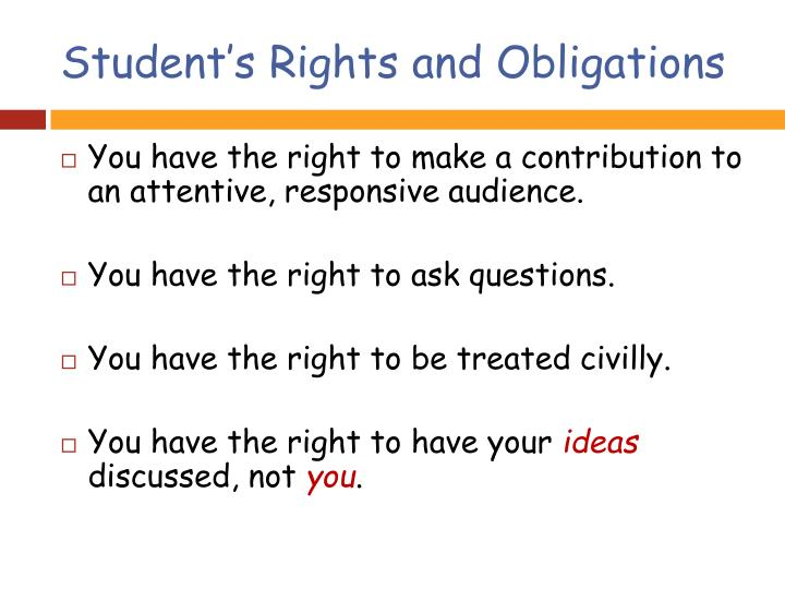 Student's Rights and Obligations