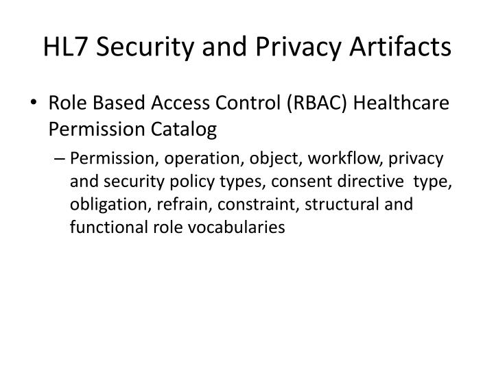HL7 Security and Privacy Artifacts