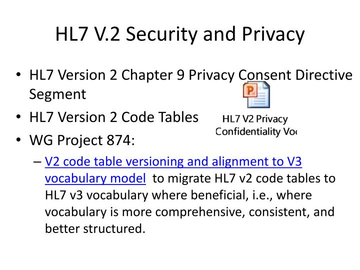 HL7 V.2 Security and Privacy