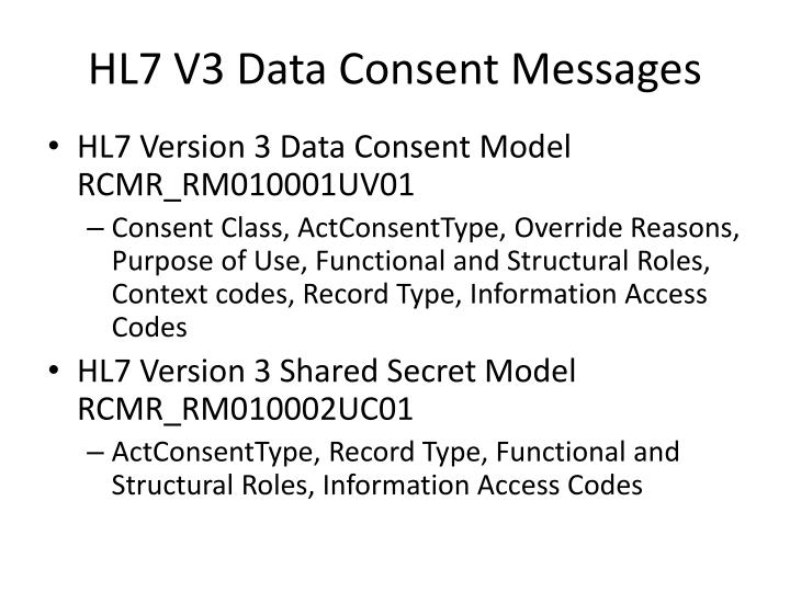 HL7 V3 Data Consent Messages
