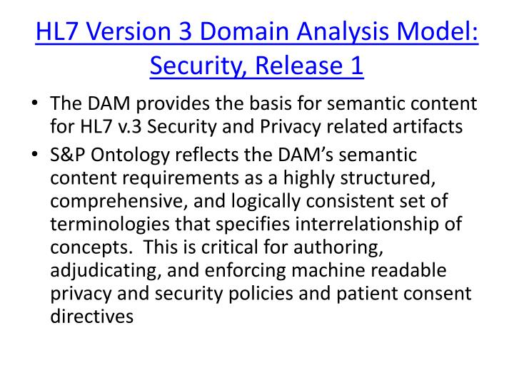HL7 Version 3 Domain Analysis Model: Security, Release 1
