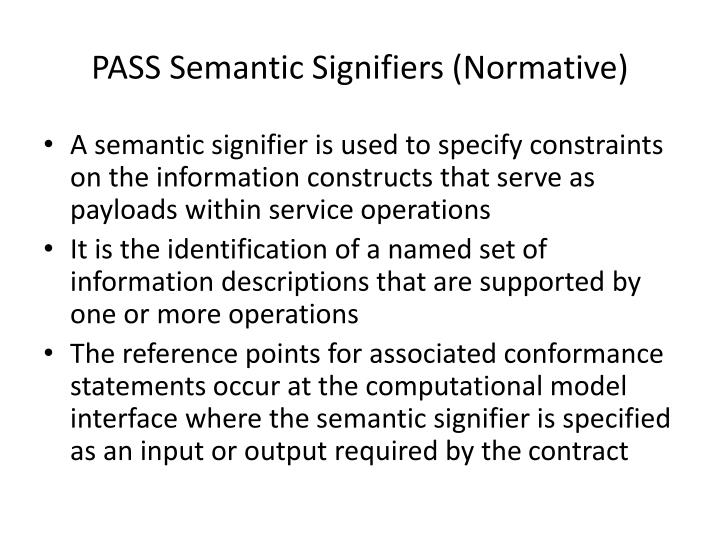PASS Semantic Signifiers (Normative)