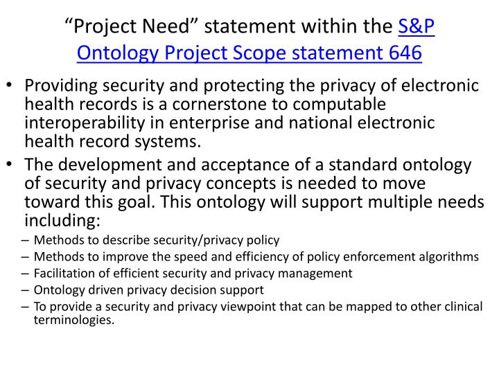 """Project Need"" statement within the"