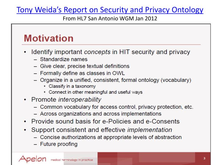 Tony Weida's Report on Security and Privacy Ontology