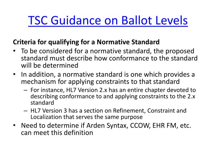 TSC Guidance on Ballot