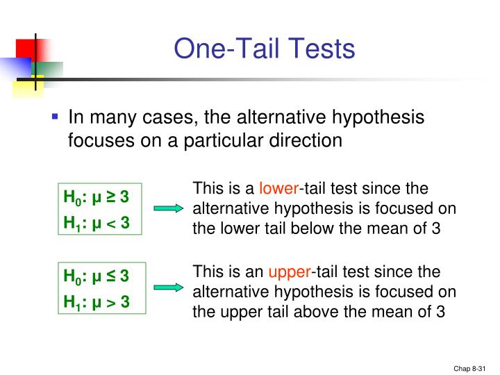 One-Tail Tests