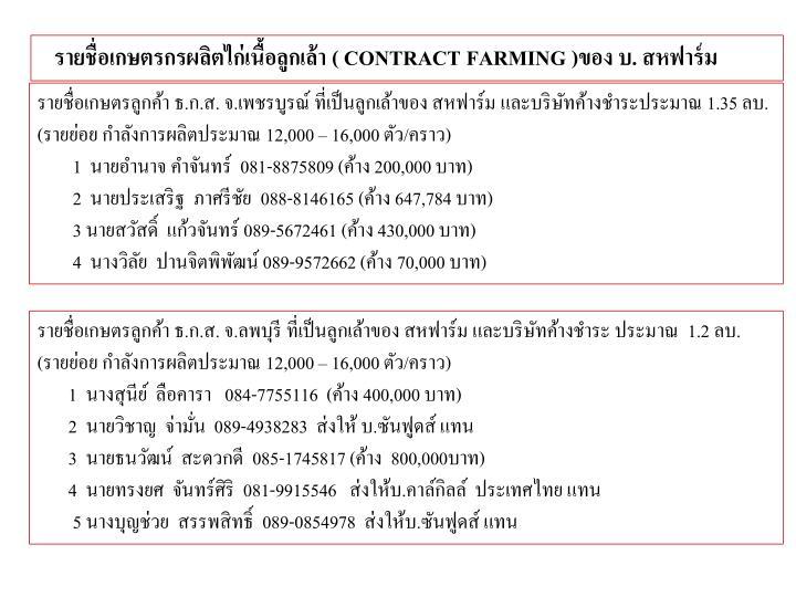 รายชื่อเกษตรกรผลิตไก่เนื้อลูกเล้า (
