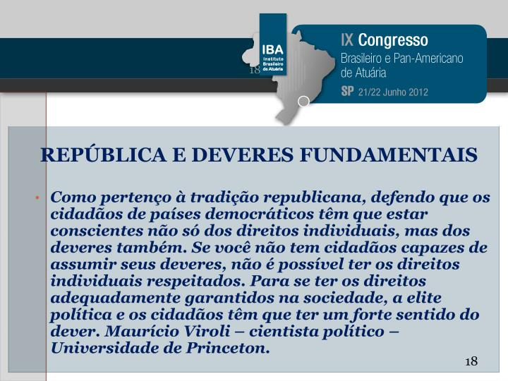 REPÚBLICA E DEVERES FUNDAMENTAIS