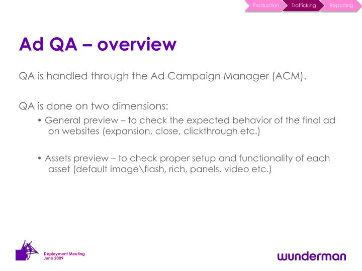 Ad QA – overview