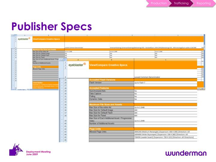 Publisher Specs