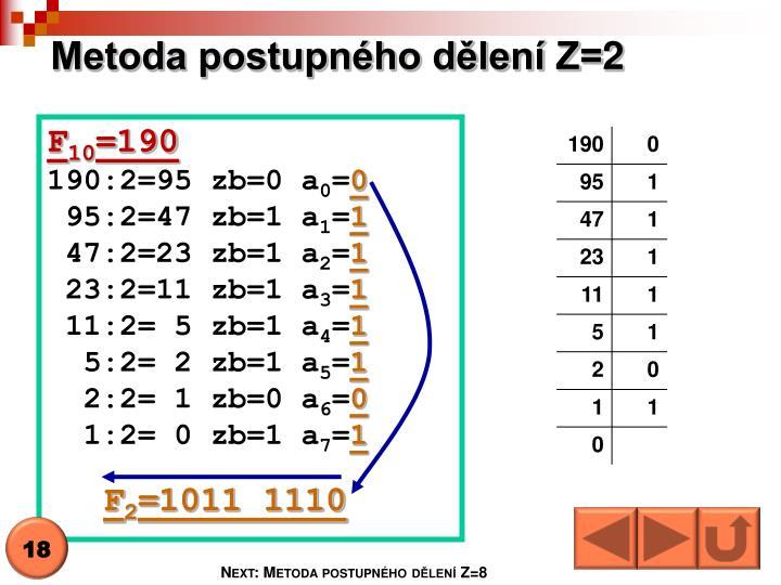 Metoda postupného dělení Z=2