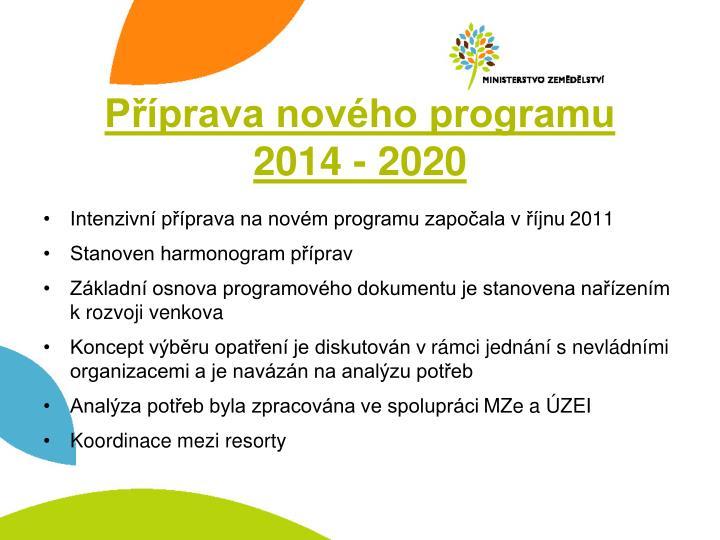 Příprava nového programu
