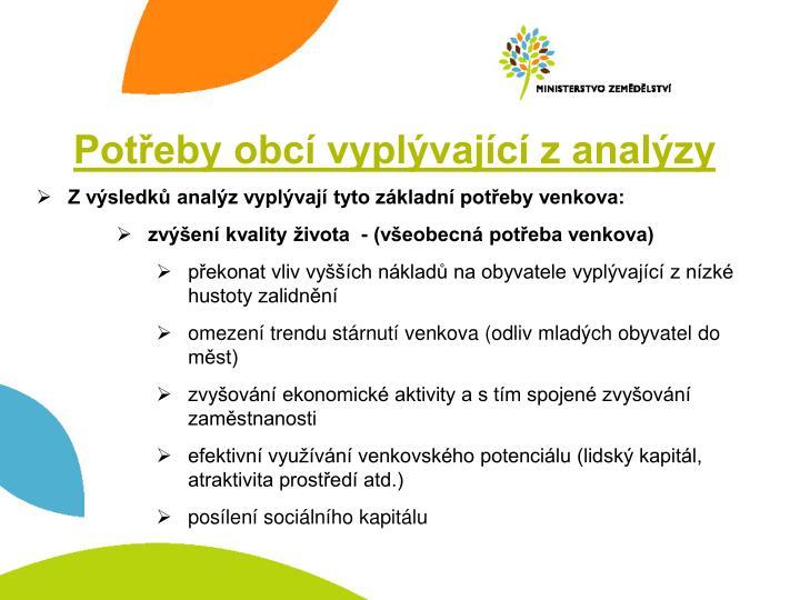 Potřeby obcí vyplývající z analýzy