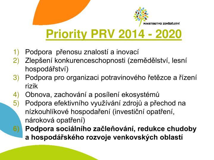 Priority PRV 2014 - 2020