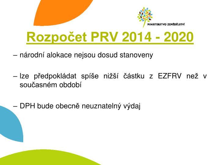 Rozpočet PRV 2014 - 2020