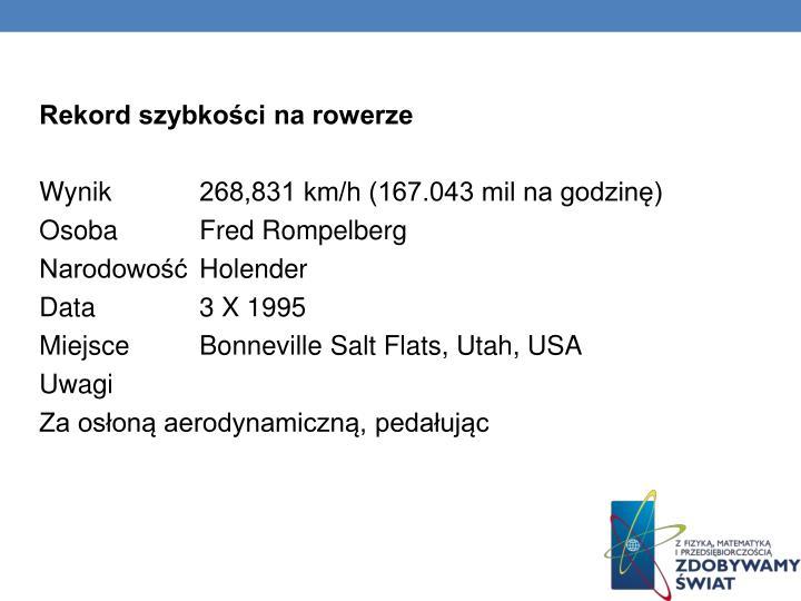 Rekord szybkości na rowerze