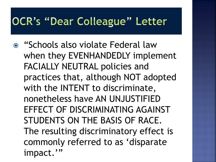 "OCR's ""Dear Colleague"" Letter"