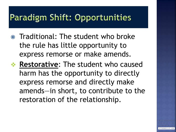 Paradigm Shift: Opportunities