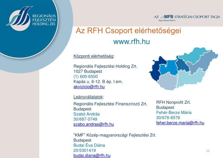 Az RFH Csoport elérhetőségei