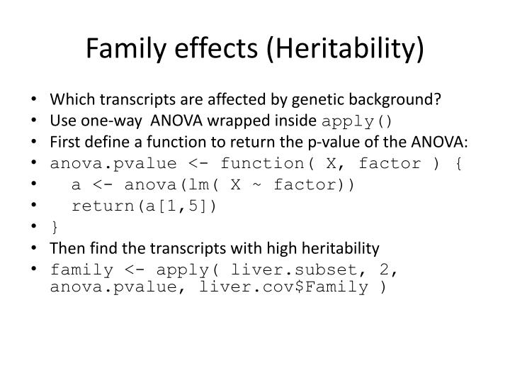 Family effects (Heritability)