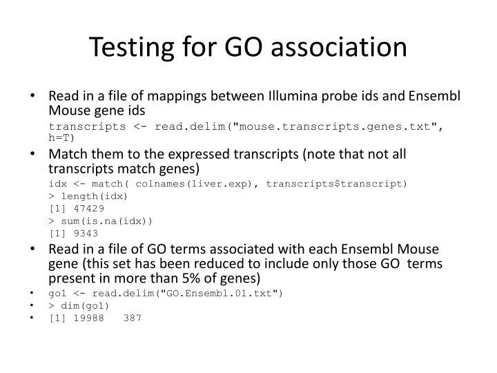 Testing for GO association