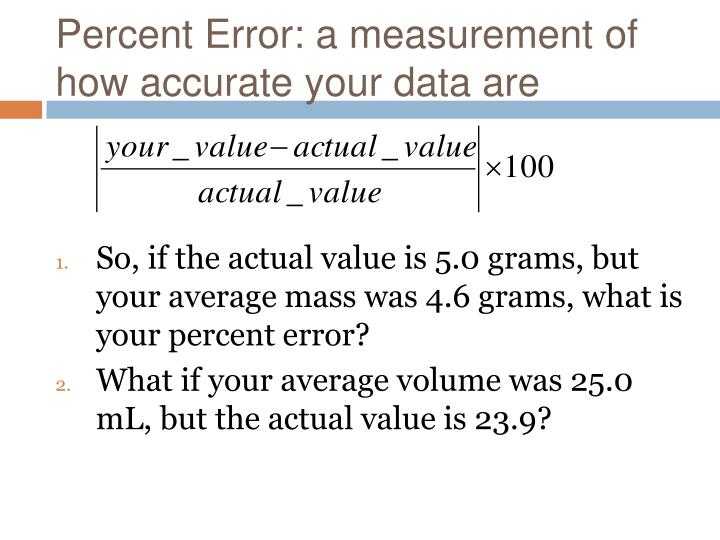 Percent Error: a measurement of how accurate your data are