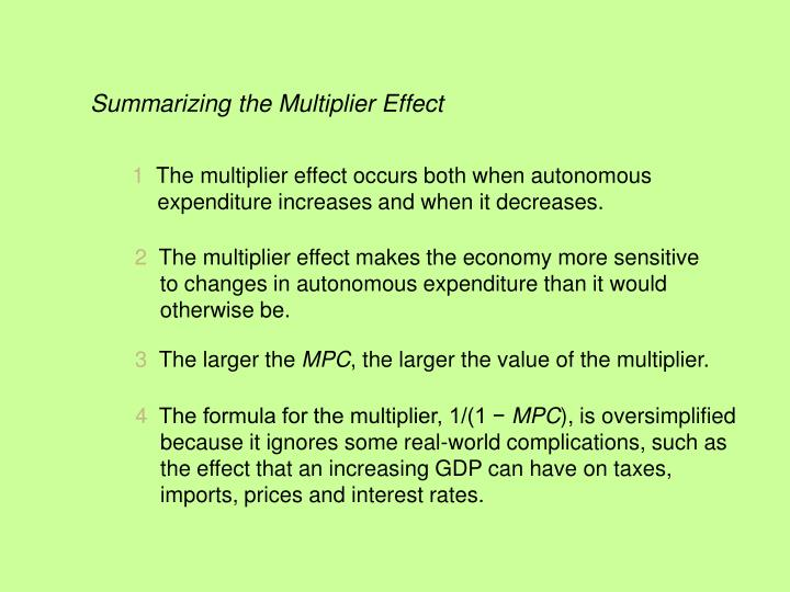 Summarizing the Multiplier Effect