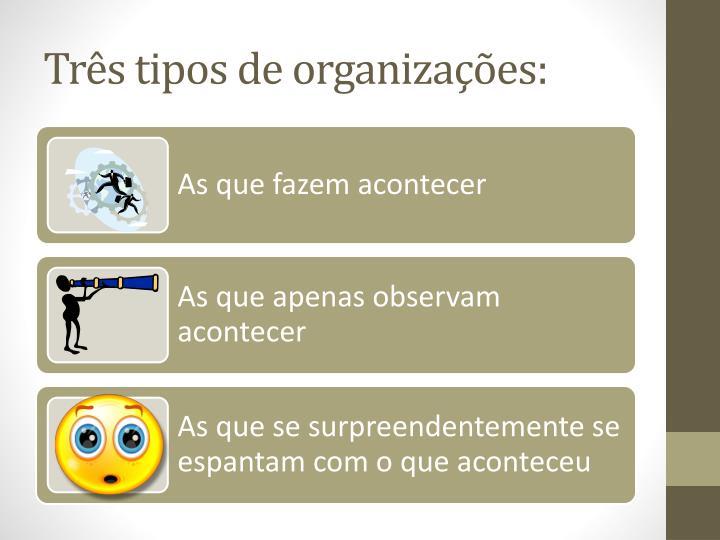 Trs tipos de organizaes: