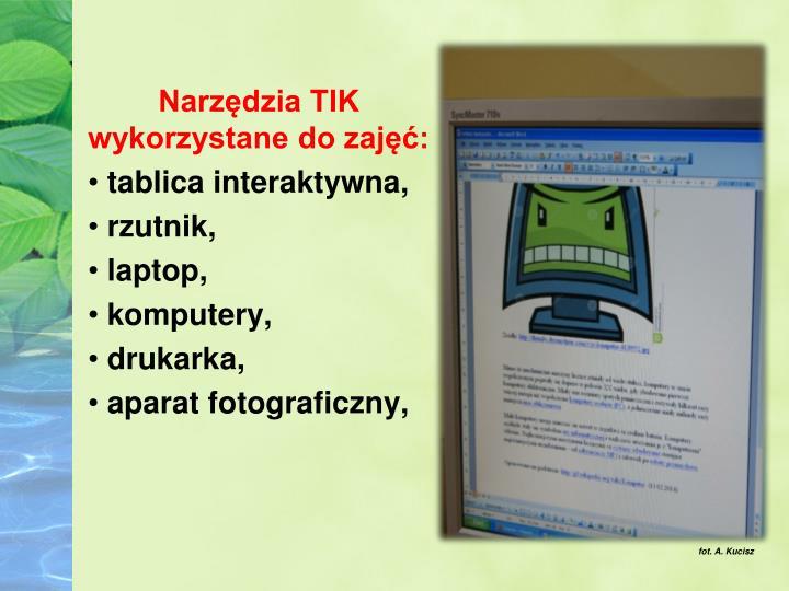 Narzędzia TIK wykorzystane do zajęć: