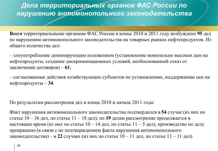 Дела территориальных органов ФАС России по нарушению антимонопольного законодательства