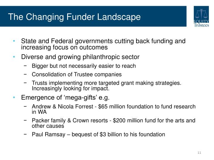 The Changing Funder Landscape