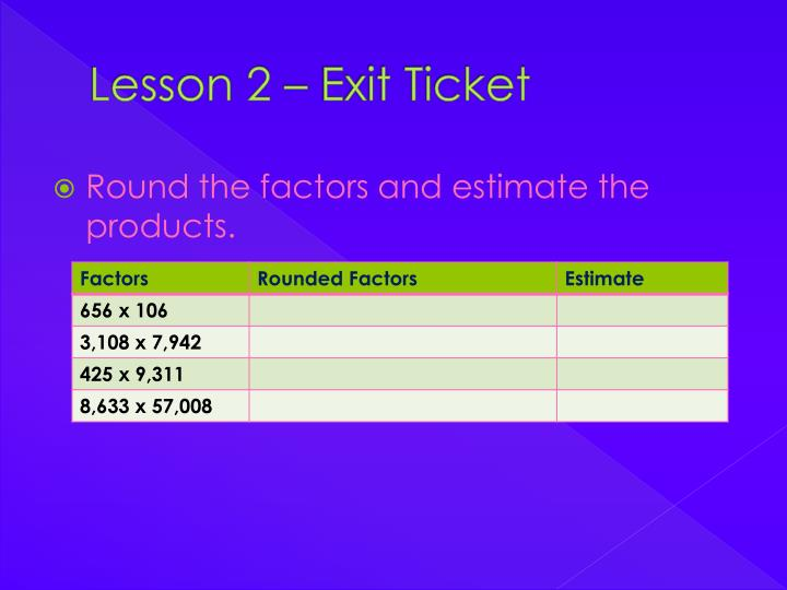 Lesson 2 – Exit Ticket