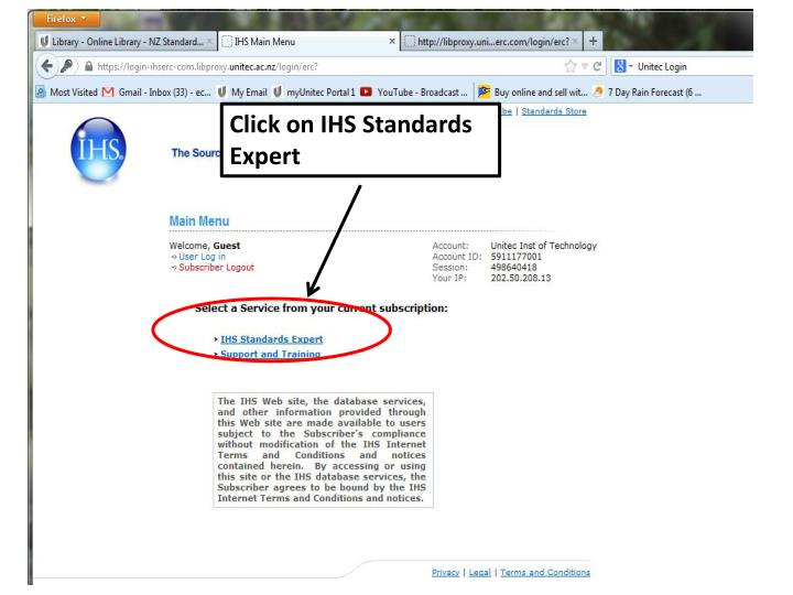 Click on IHS Standards Expert