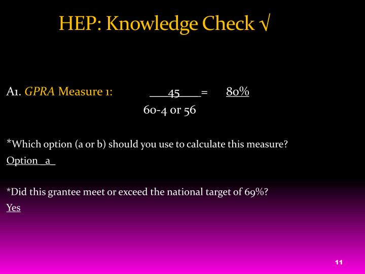 HEP: Knowledge Check