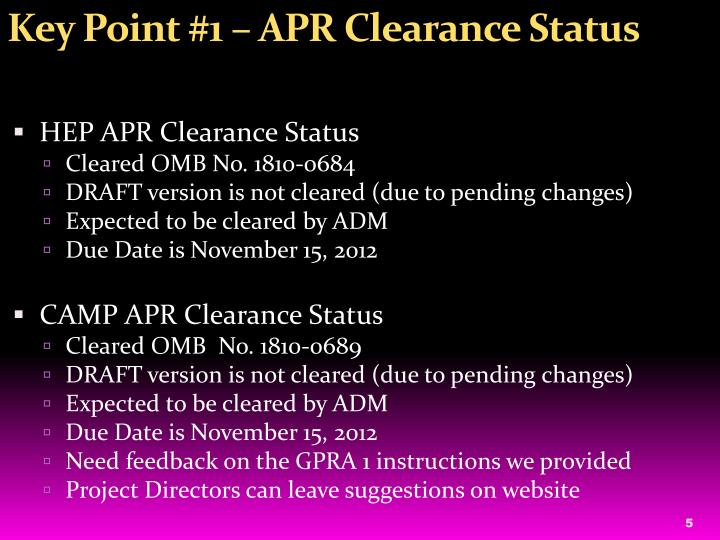 Key Point #1 – APR Clearance Status