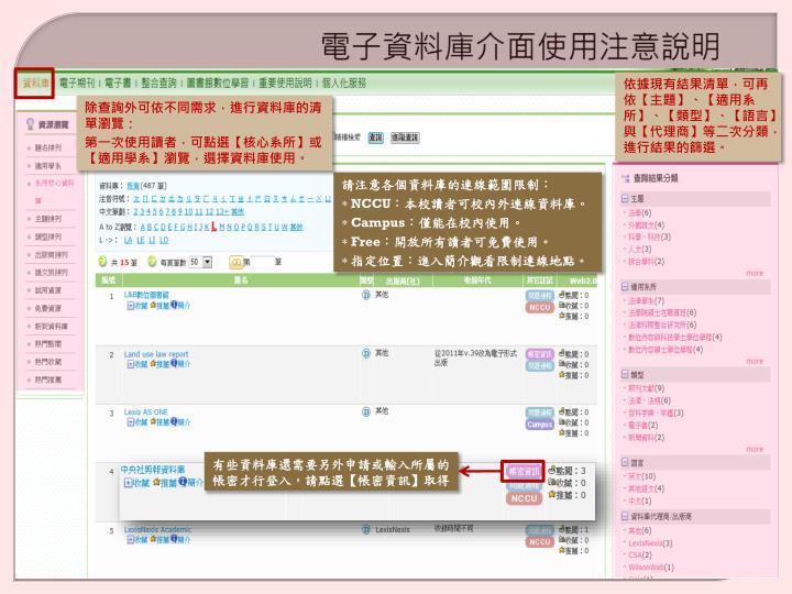 電子資料庫介面使用注意說明