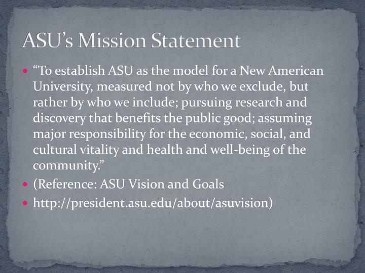Asu s mission statement