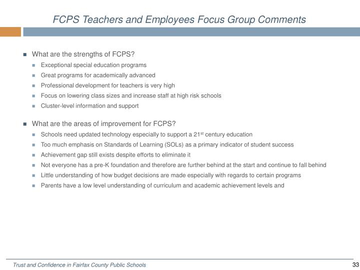 FCPS Teachers and Employees Focus Group Comments