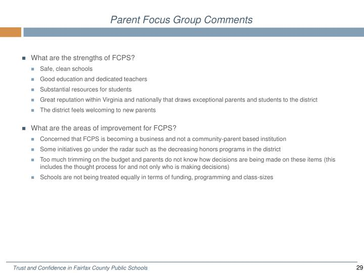 Parent Focus Group Comments