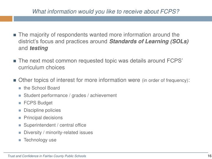 What information would you like to receive about FCPS?