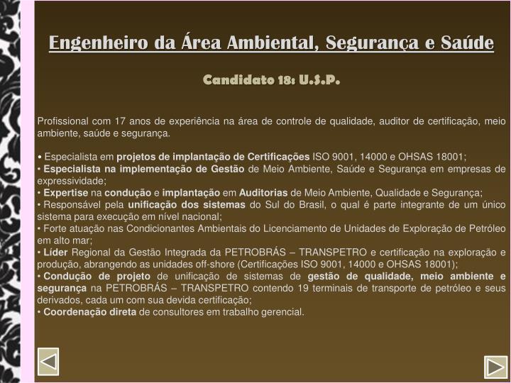 Engenheiro da Área Ambiental, Segurança e Saúde