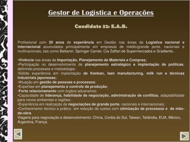 Gestor de Logística e Operações
