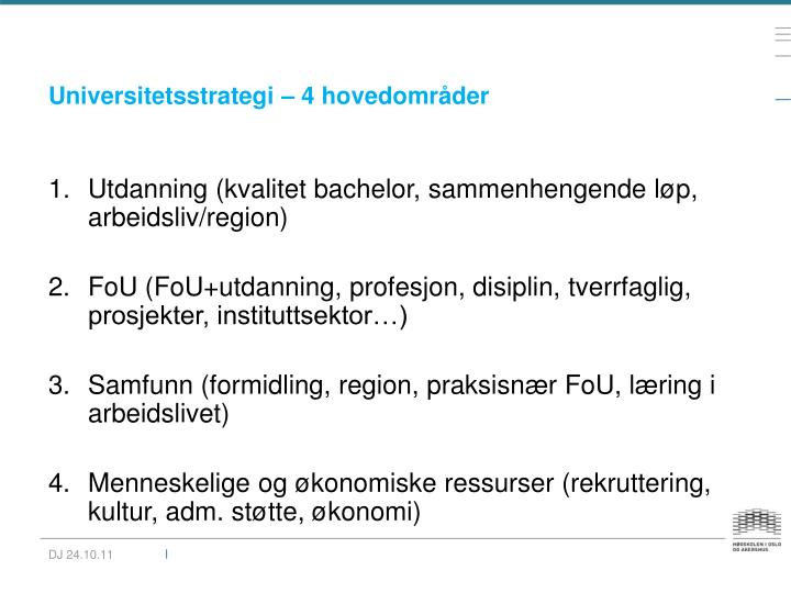 Universitetsstrategi – 4 hovedområder