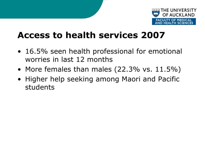 Access to health services 2007