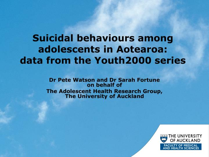 Suicidal behaviours among adolescents in Aotearoa: