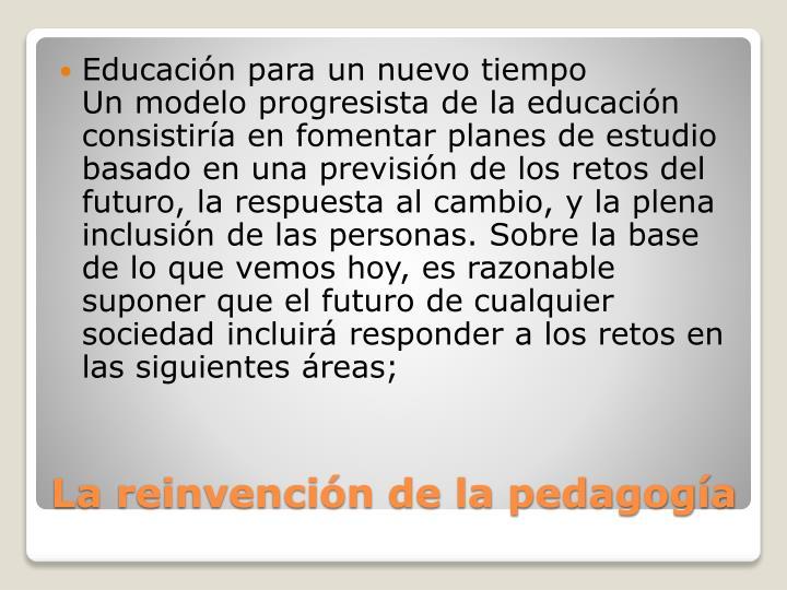 Educación para un nuevo tiempo