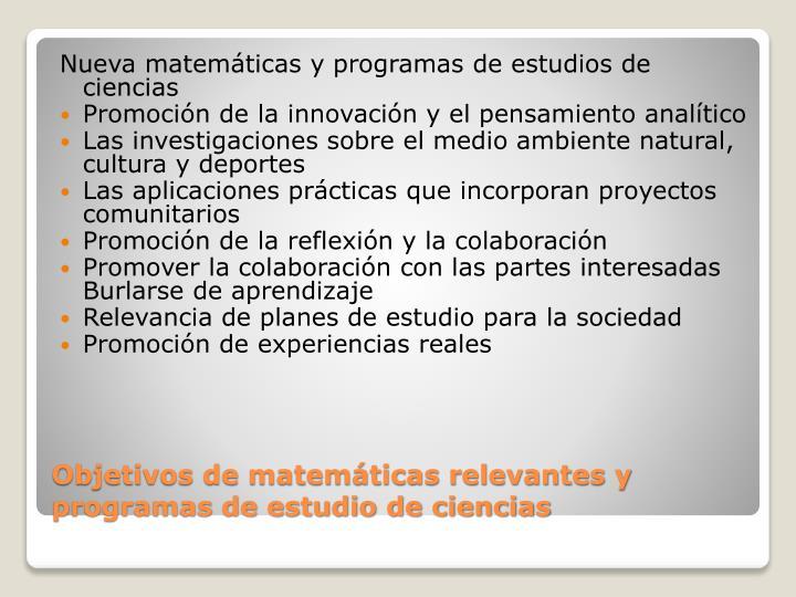 Nueva matemáticas y programas de estudios de