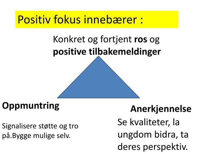 Positiv fokus innebærer :