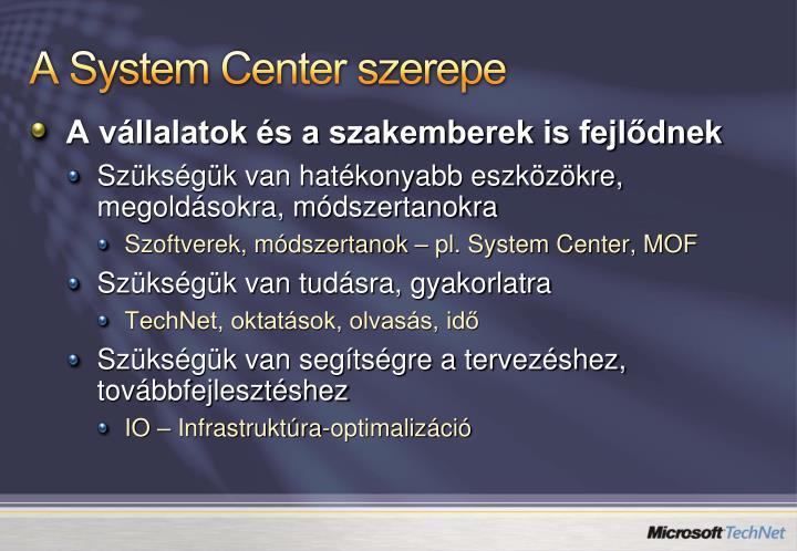A System Center szerepe