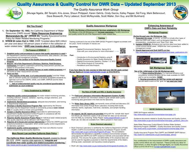Quality Assurance & Quality Control for DWR Data –